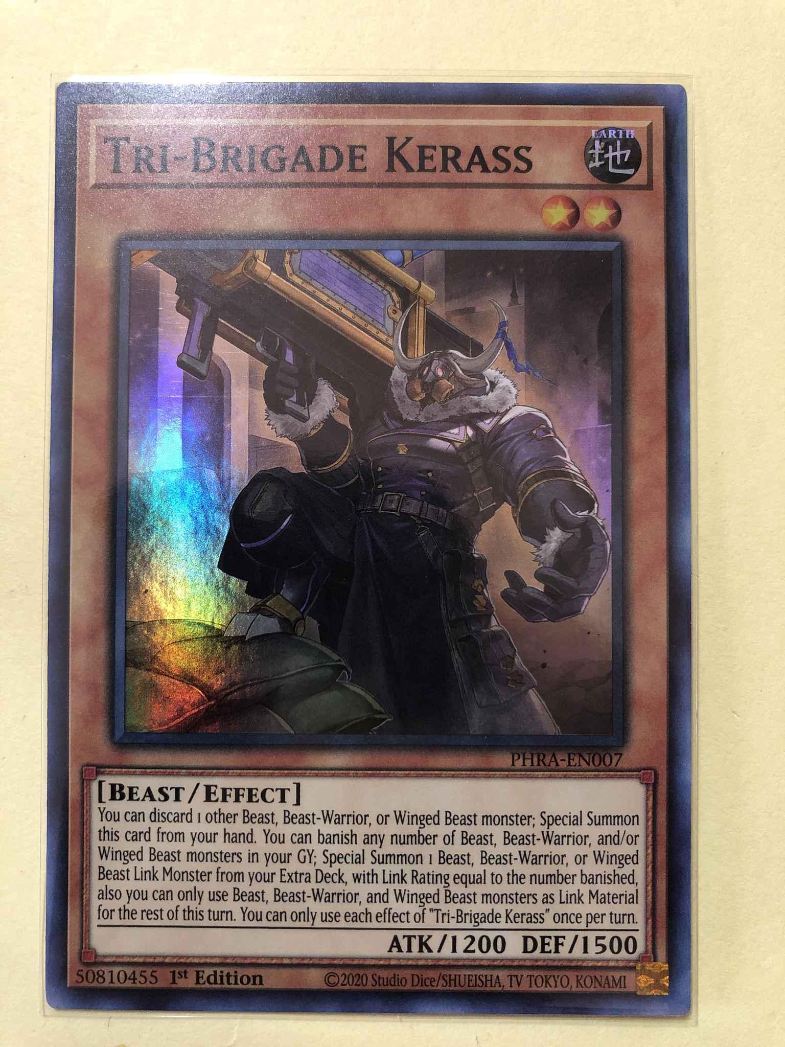 PHRA-EN007 Tri-Brigade Kerass Super Rare 1st Edition Mint YuGiOh Card