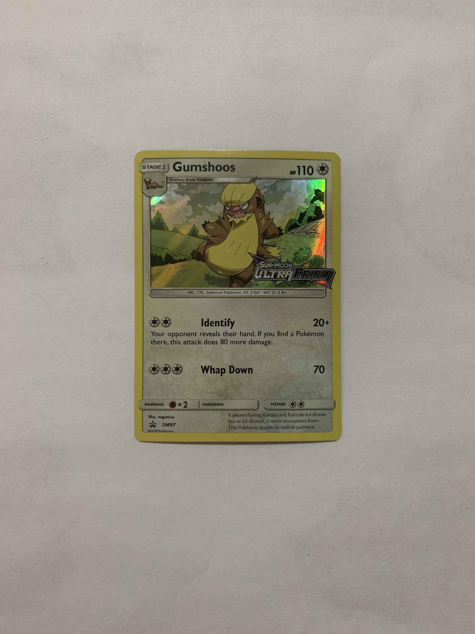 PL//LP Prerelease STAFF Pokemon GUMSHOOS Card BLACK STAR PROMO SM97 Ultra Prism