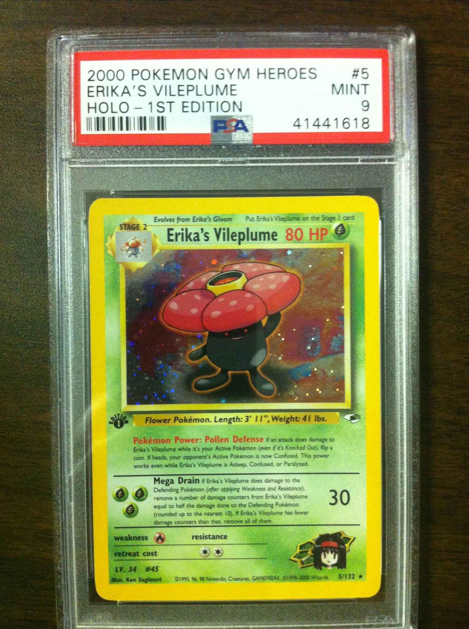 Pokemon Erika/'s Vileplume Gym Heroes 5//132 Rare Holo Played