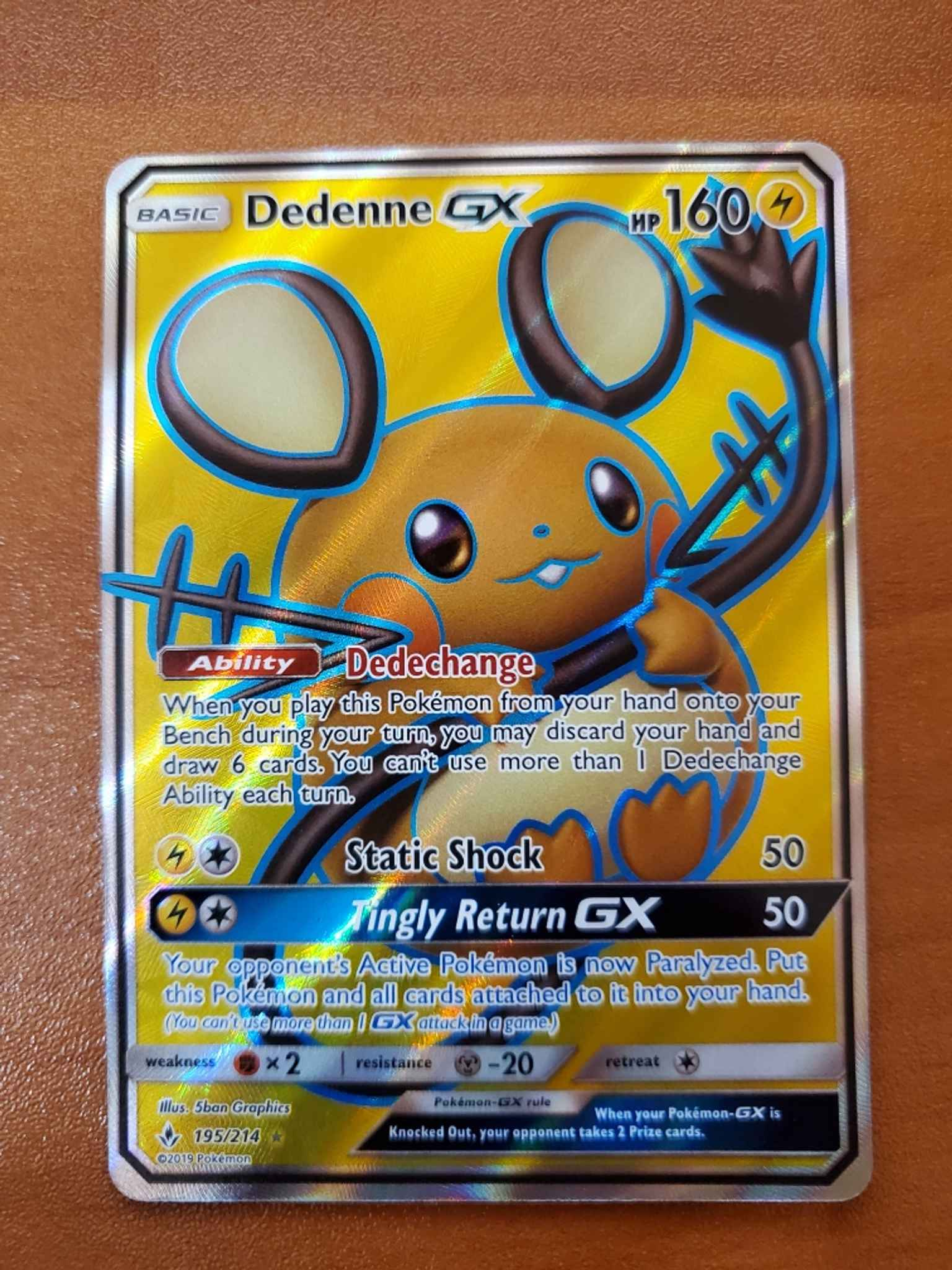 195//214 Full Art Ultra Rare NM-Mint Dedenne GX