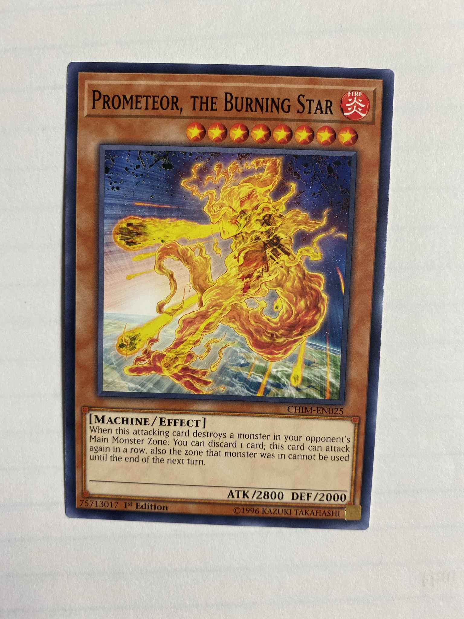 the Burning Star CHIM-EN025 Common Yu-Gi-Oh Card 1st Edition New Prometeor