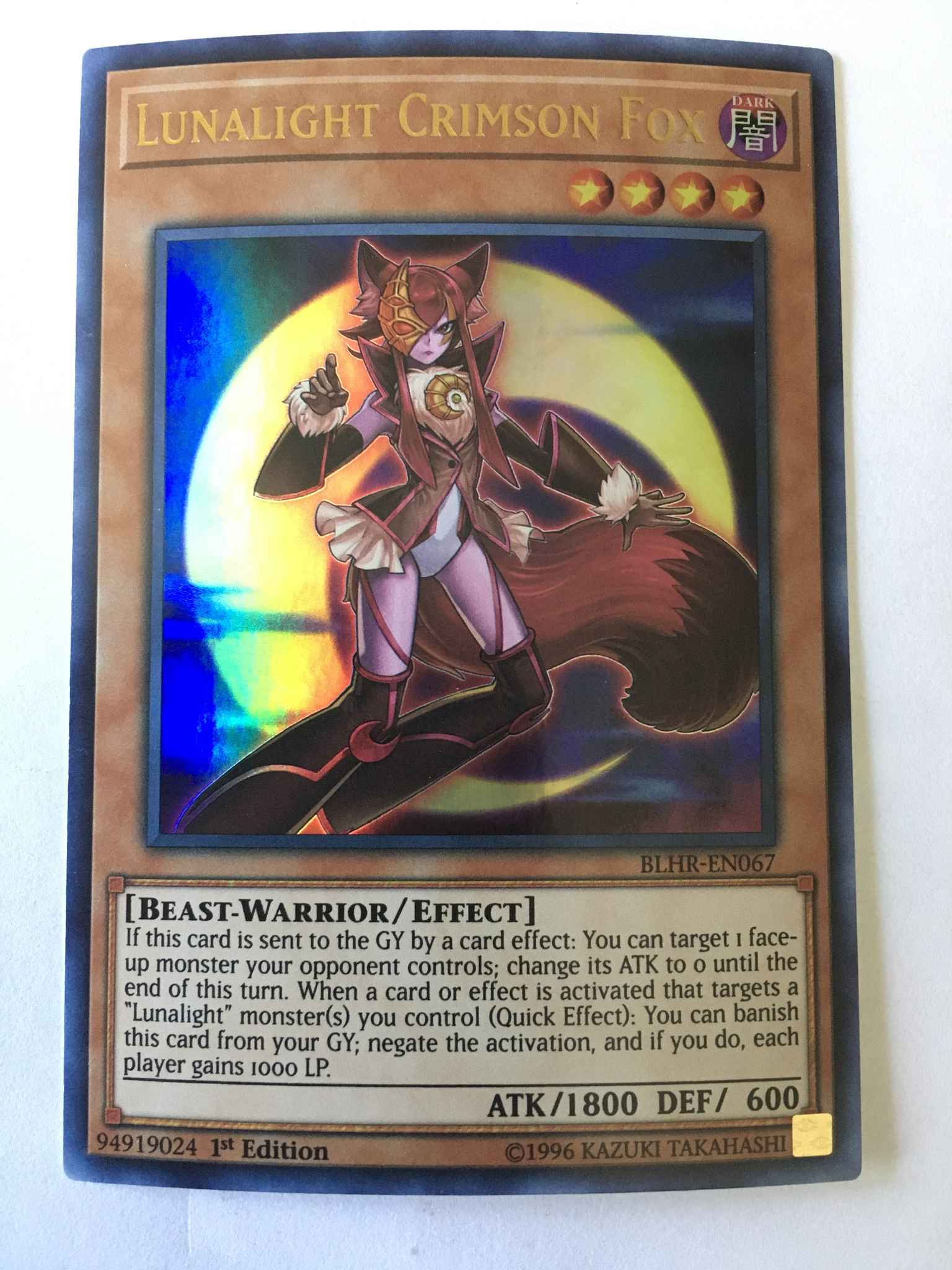 "/""lunalight Crimson Fox/"" blhr-en067 NEAR MINT YUGIOH!! 1 Edition! ULTRA RARE"