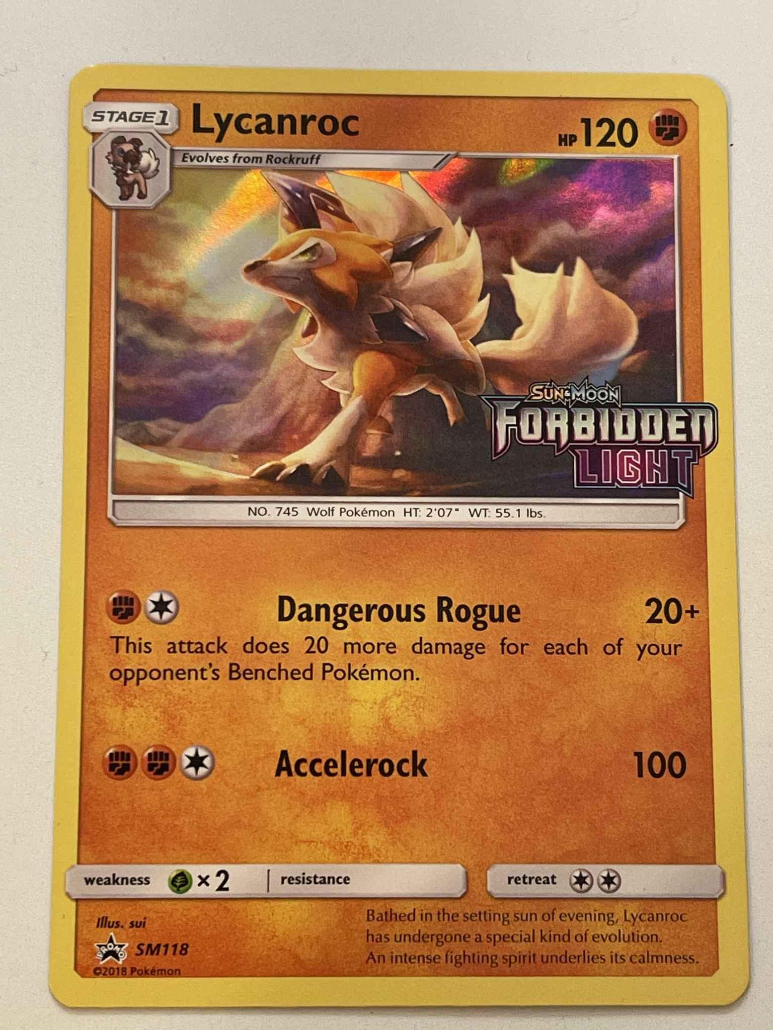 Holographic Rare Near Mint Pokemon Card Lycanroc SM118 PRERELEASE PROMO