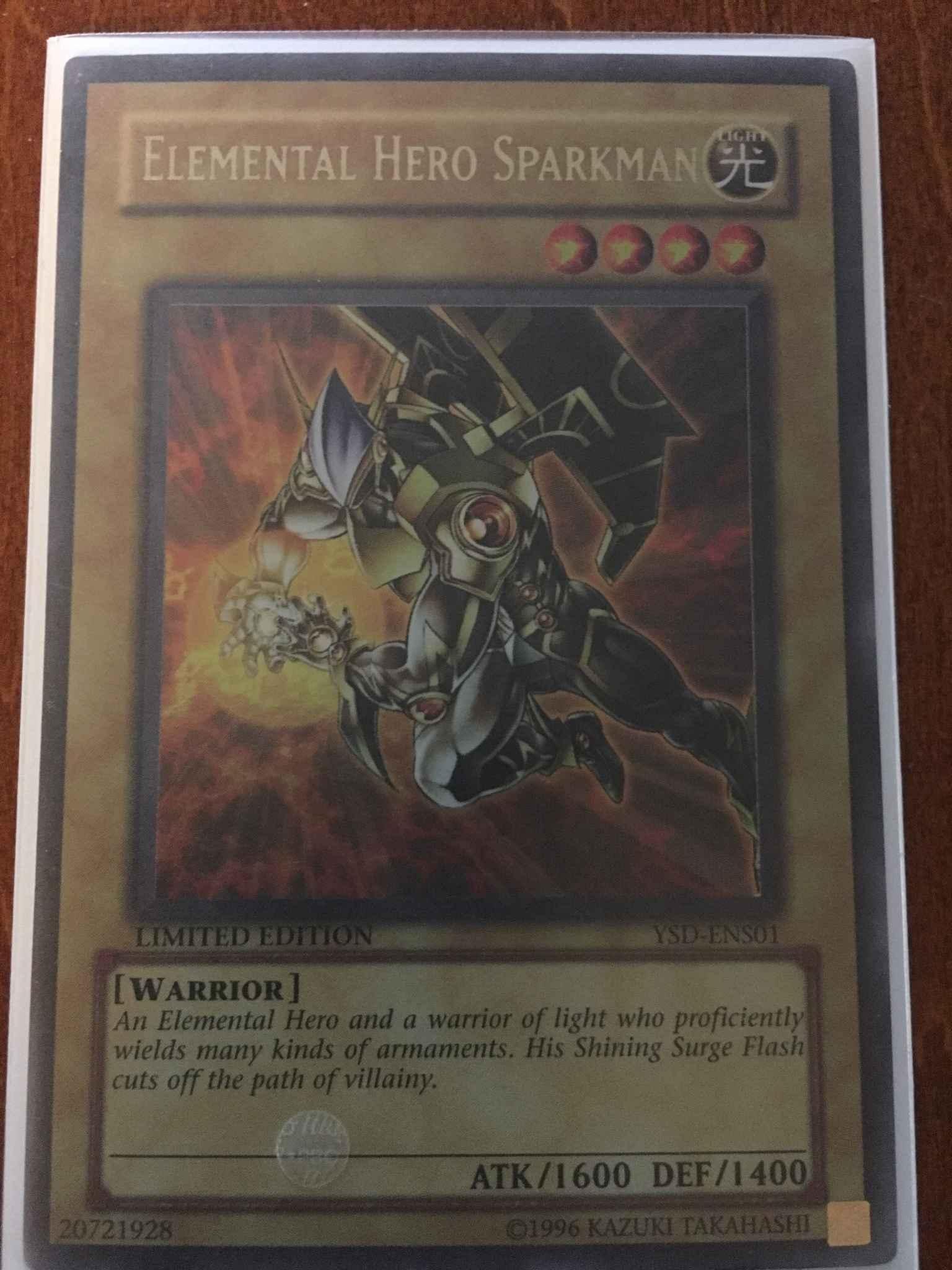 Elemental Hero Sparksman YSD-ENS01 Rare Limited Edition Yugioh Card