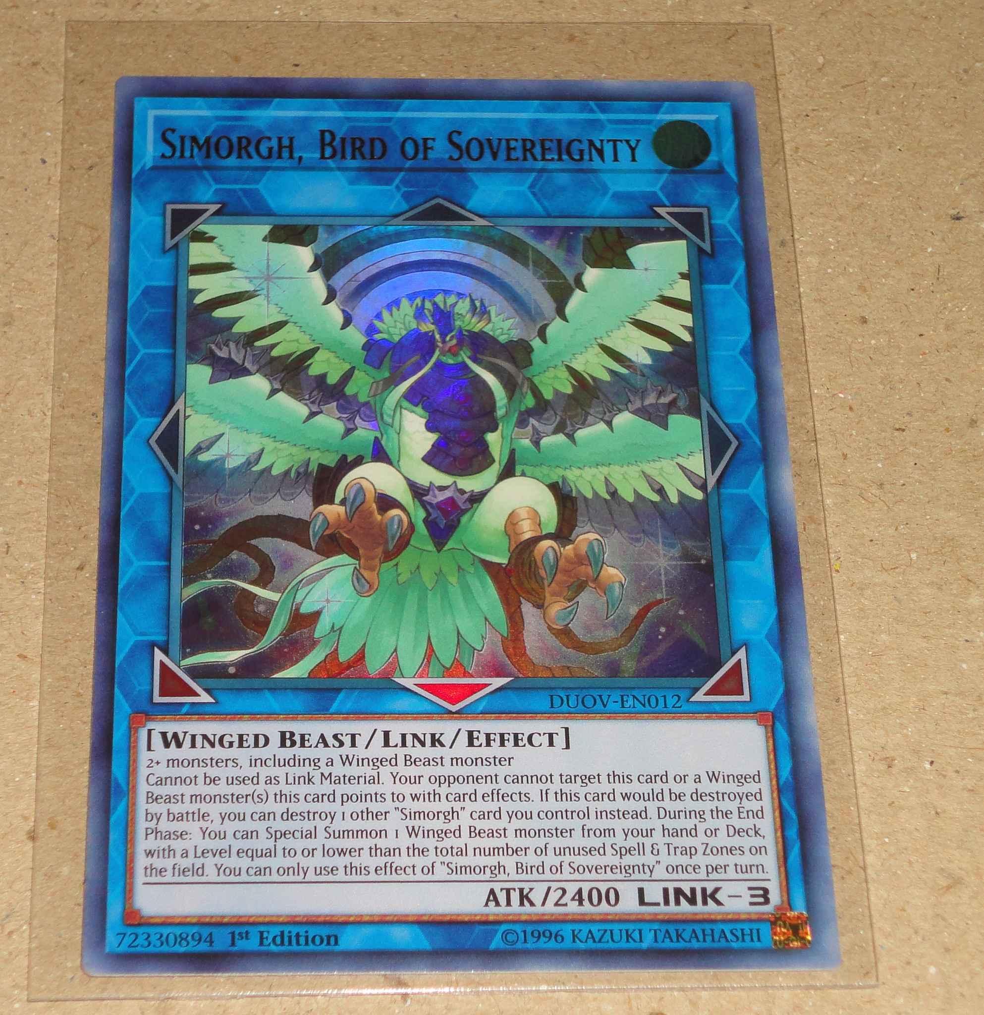 Bird of Sovereignty Ultra Rare Yugioh DUOV-EN012 Simorgh